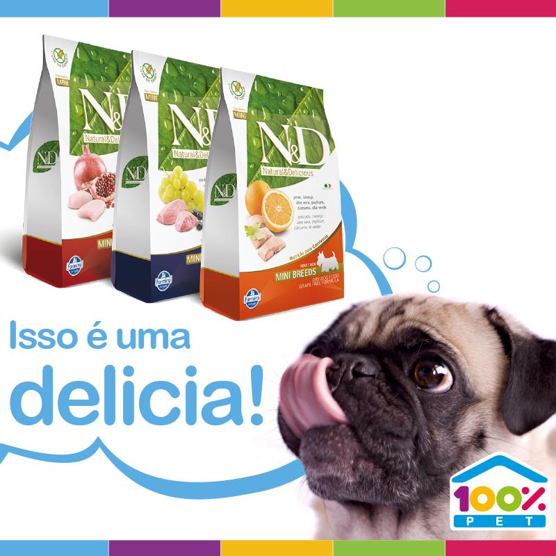 Promoção da Farmina nas lojas 100% Pet - válido até dia 31/03.