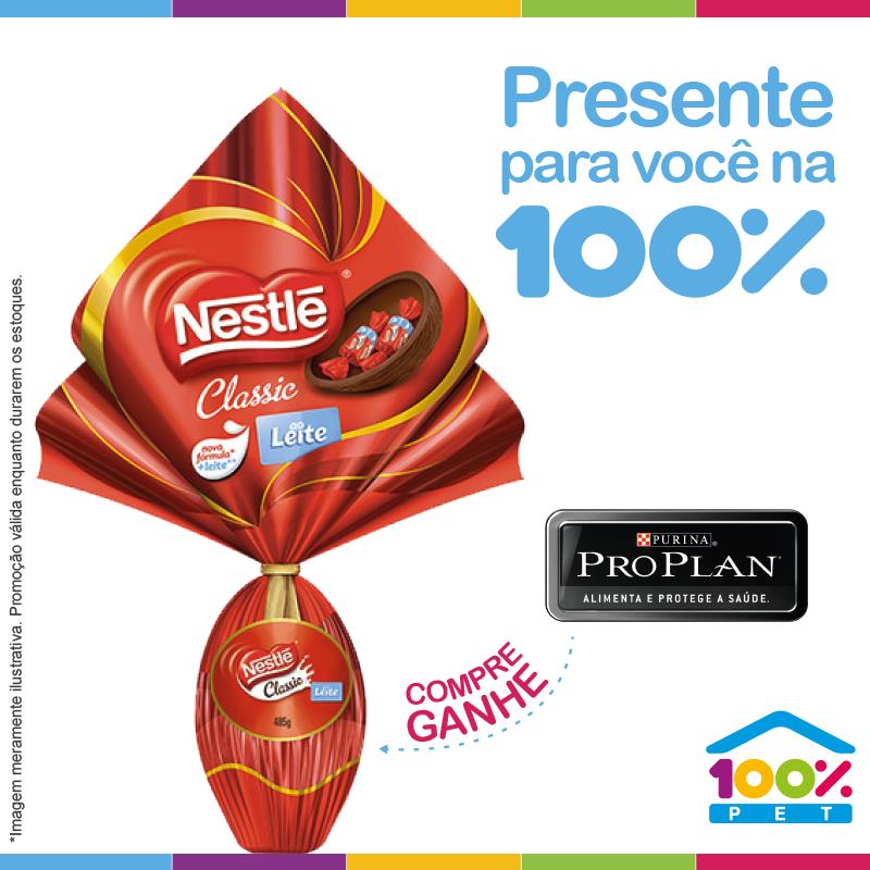 10 primeiros clientes que comprarem Pro Plan 15kg, ganham 01 ovo de páscoa Nestlé 200g.